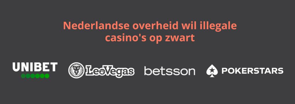 Overheid wil illegale casinos en goksites op zwart