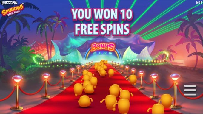 Spinions Beach Club Free Spins!