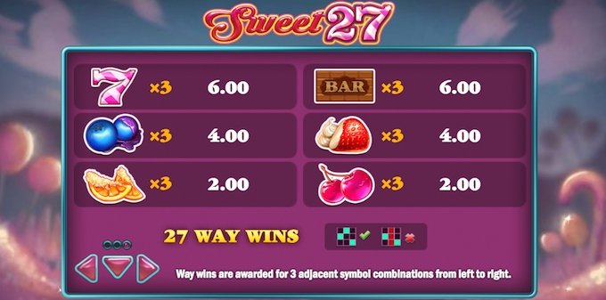 Sweet 27 symbolen