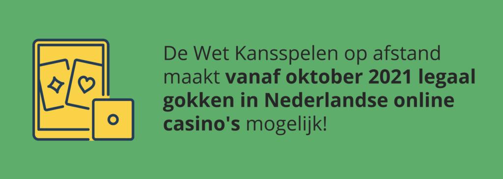 Legaal online gokken vanaf oktober 2021
